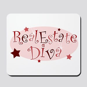 """Real Estate Diva"" [red] Mousepad"